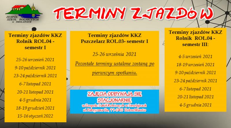 Terminy zjazdów KKZ w roku szkolnym 2021/2022